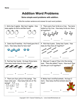 Addition Word Problems 1 — Instant Worksheets