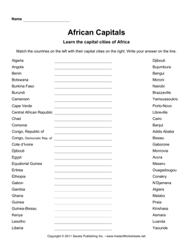 Capitals - Country capital list