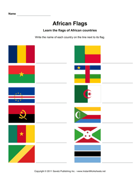 math worksheet : african flags 1  instant worksheets : Fraction Flags Worksheet