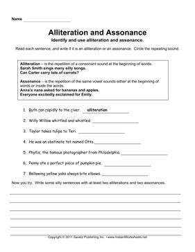 Printables Alliteration Worksheets alliteration assonance instant worksheets