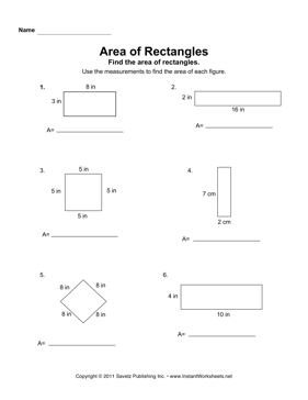 Printables Area Of Rectangles Worksheet area of rectangles worksheets davezan 2 instant worksheets
