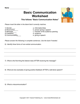 Basic Communication Worksheet — Instant Worksheets