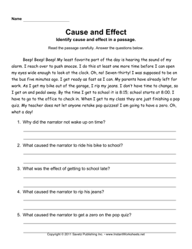 Cause Effect — Instant Worksheets