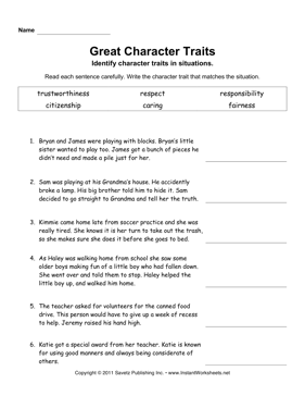 Printables Characterization Worksheet character traits elem instant worksheets