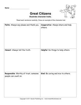 Character Traits Primary