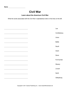 Civil War Alphabetize