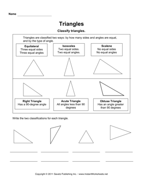 Printables Classifying Triangles Worksheet classifying triangles instant worksheets