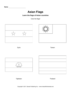 Color Asian Flags 10  Instant Worksheets
