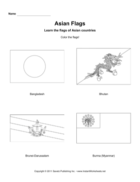 Color Asian Flags 2