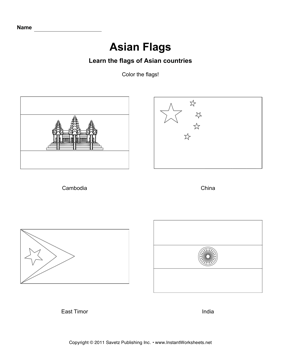 Color Asian Flags 3