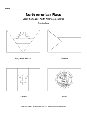 Color North American Flags 1