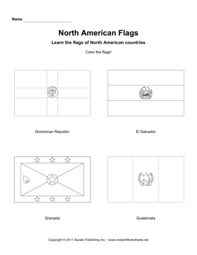 Color North American Flags 3