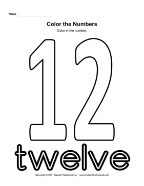 Color Number 12 — Instant Worksheets