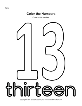 Number 13 Worksheets - Sharebrowse