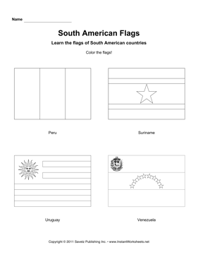 Color South American Flags 3