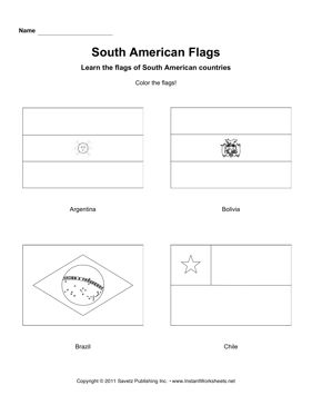 Color South American Flags 1