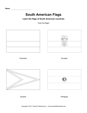 Color South American Flags 2