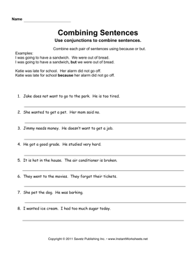 Combining Sentences — Instant Worksheets