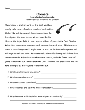 Comets Comprehension