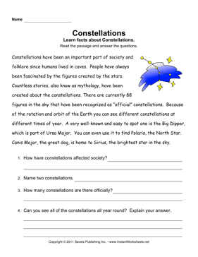 Constellations Comprehension — Instant Worksheets
