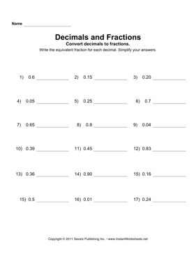 Printables Converting Decimals To Fractions Worksheet convert decimals fractions 2 instant worksheets 2