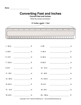 Printables Inches To Feet Worksheet convert inches feet instant worksheets