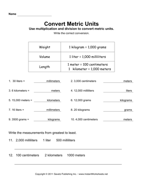 Printables Conversion Of Units Worksheets convert metric units instant worksheets