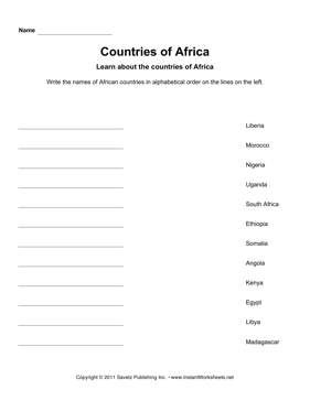 Countries Alphabetize Africa
