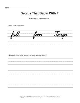 Cursive F Words