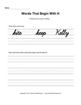 Cursive K Words