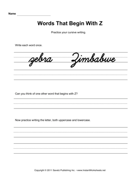 Cursive Z Words — Instant Worksheets