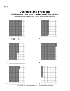 math worksheet : decimal fraction models  instant worksheets : Decimals And Fractions Worksheets