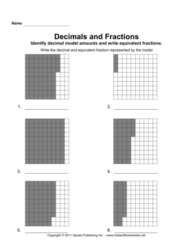 Decimal Fraction Models 2 — Instant Worksheets