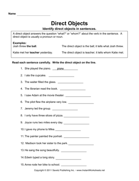 Worksheets Direct Objects Worksheet direct objects instant worksheets