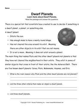 Dwarf Planets Comprehension