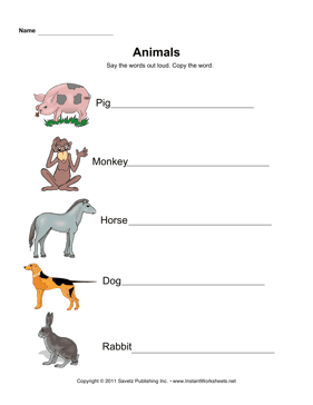 ESL Animals Elem 1