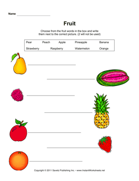 ESL Fruit Writing