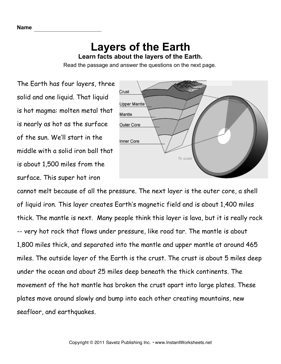 Printables Layers Of Earth Worksheet earth layers comprehension instant worksheets