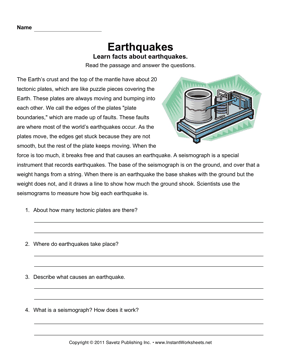 Worksheets Earthquakes For Kids Worksheets earthquake comprehension instant worksheets