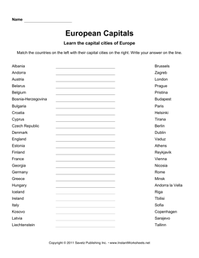 graphic regarding States and Capitals Matching Quiz Printable identified as Eu Capitals 1