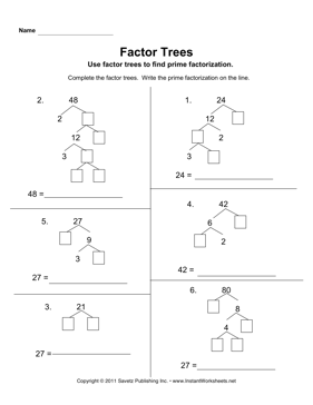 Factor Trees — Instant Worksheets