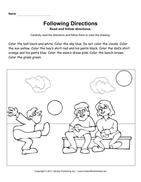 Free Following Directions Worksheets | edHelper.com
