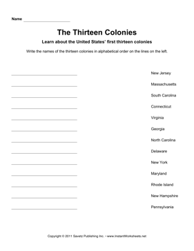 Government Alphabetize 13 Colonies