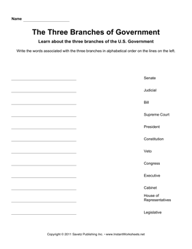 Government Alphabetize 3 Branches
