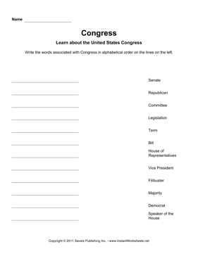 Government Alphabetize Congress