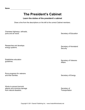 Presidential Cabinet Questions Worksheet | memsaheb.net
