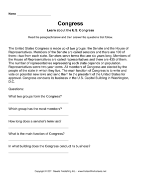 Government Congress Comprehension