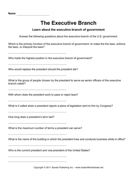 Government Executive Branch — Instant Worksheets