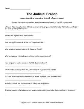 Worksheets Judicial Branch Worksheet government judicial branch instant worksheets