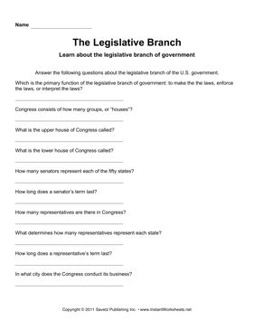 Printables Legislative Branch Worksheet government legislative branch instant worksheets